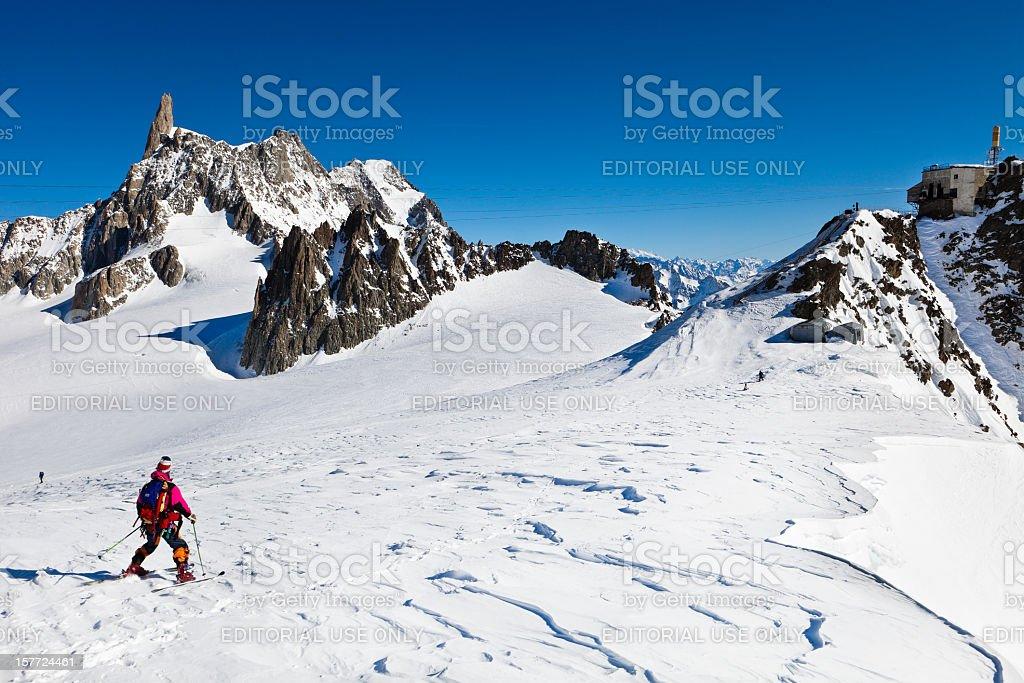 Skier on the Glacier du Geant, Mont Blanc Massif stock photo