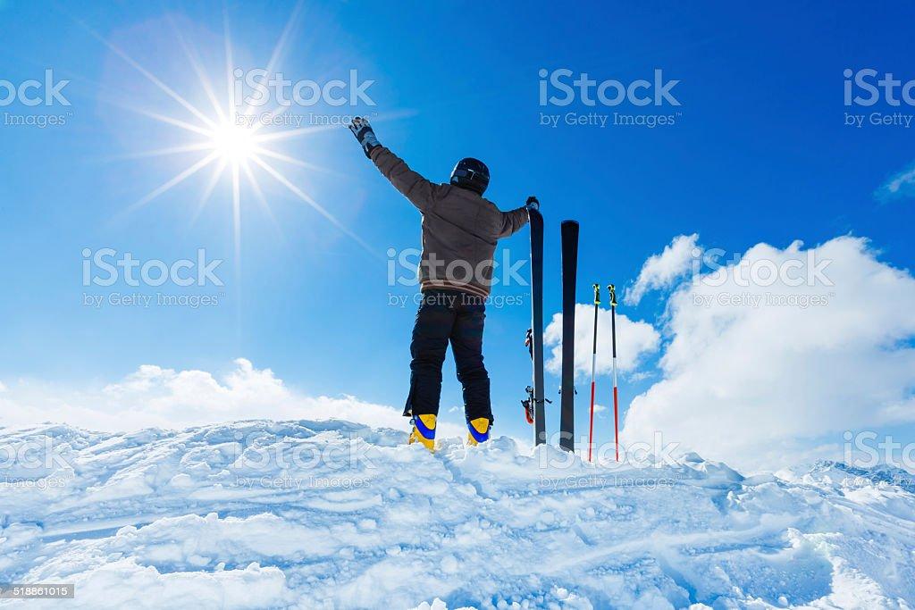 Skier on top of ski resort stock photo