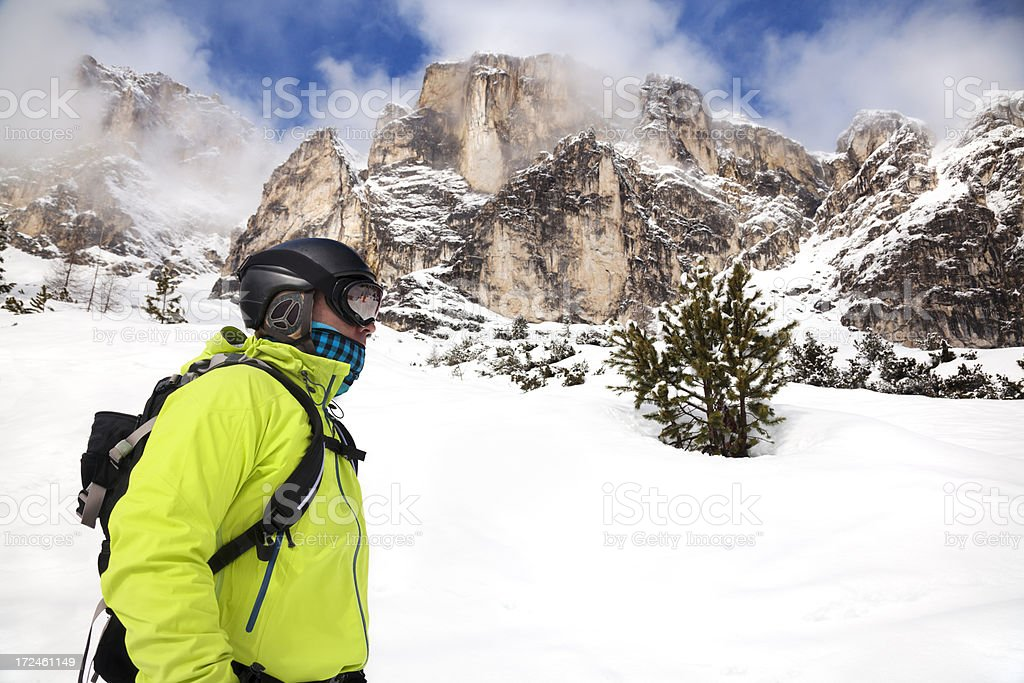 Skier or snowboarder in The Dolomites royalty-free stock photo