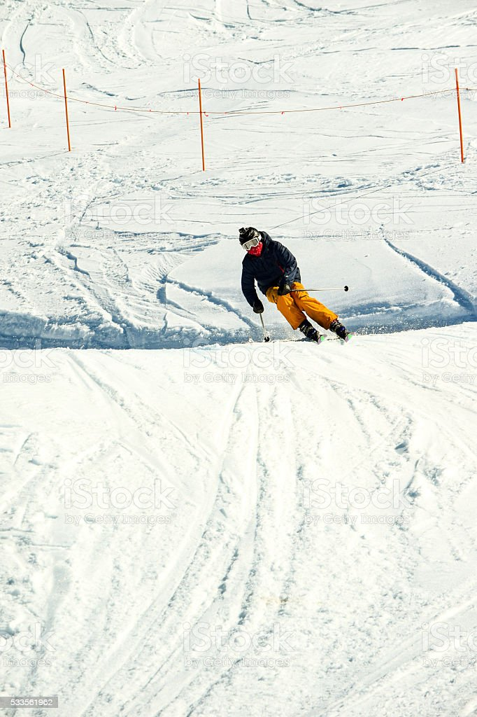 Skier racing through a Ski Cross Course in Australia stock photo