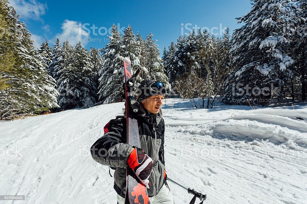 Skier ready for skiing stock photo