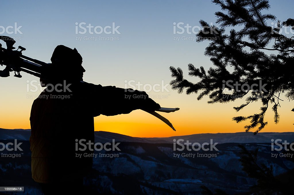 Skier Silhouette at Sunset royalty-free stock photo