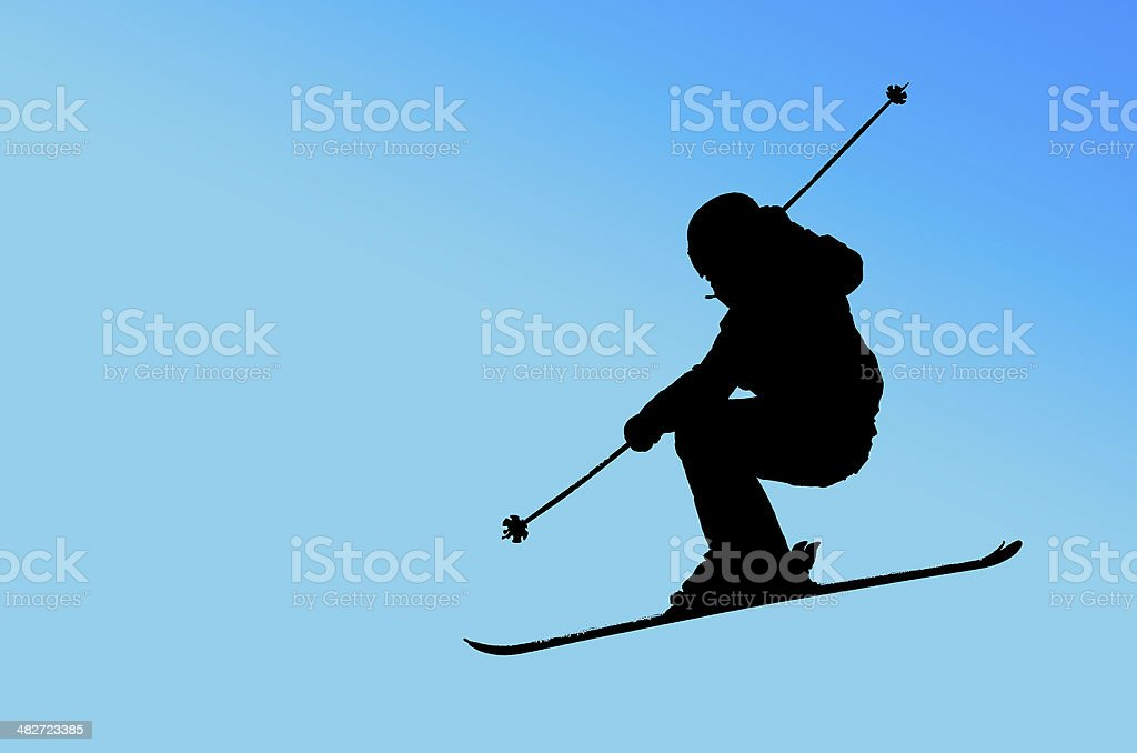 Skier silhouette on Blue background stock photo