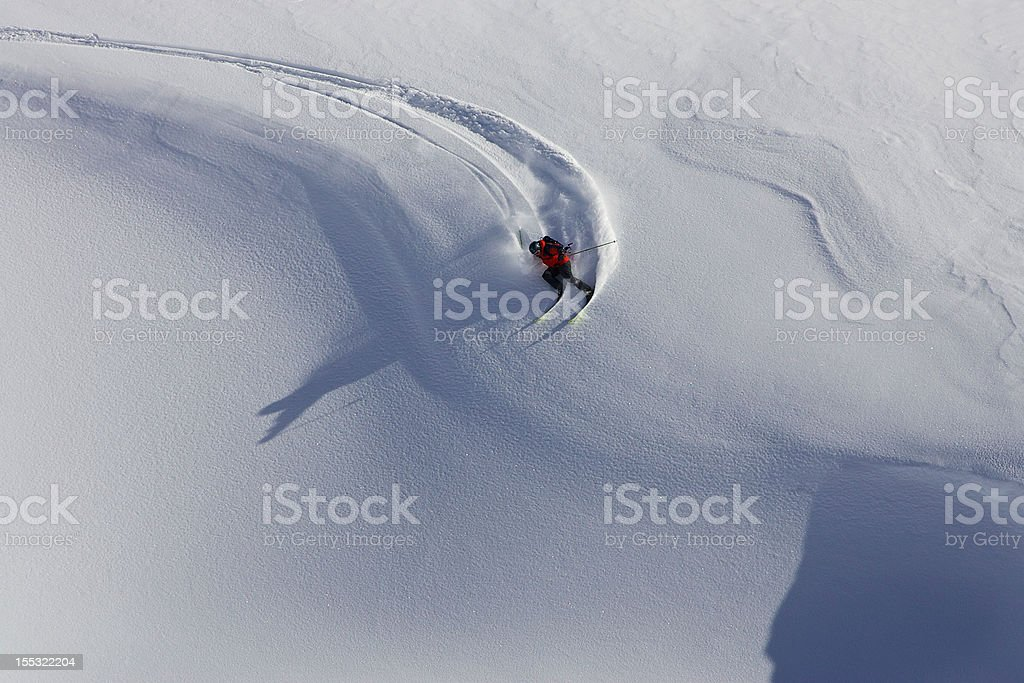 Skier turning stock photo
