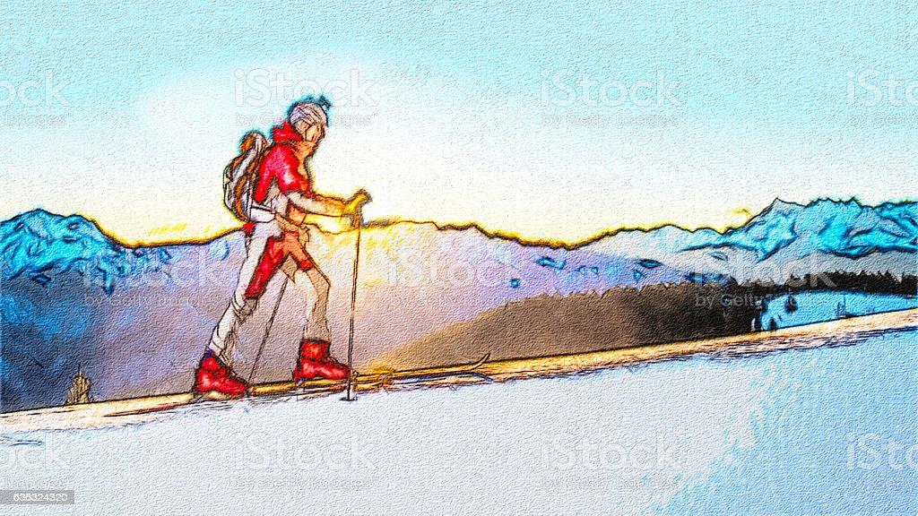 Skier uphill ski mountaineering stock photo