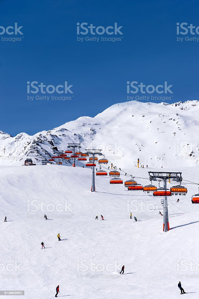 Skiers and chairlift in Solden, Austria stock photo