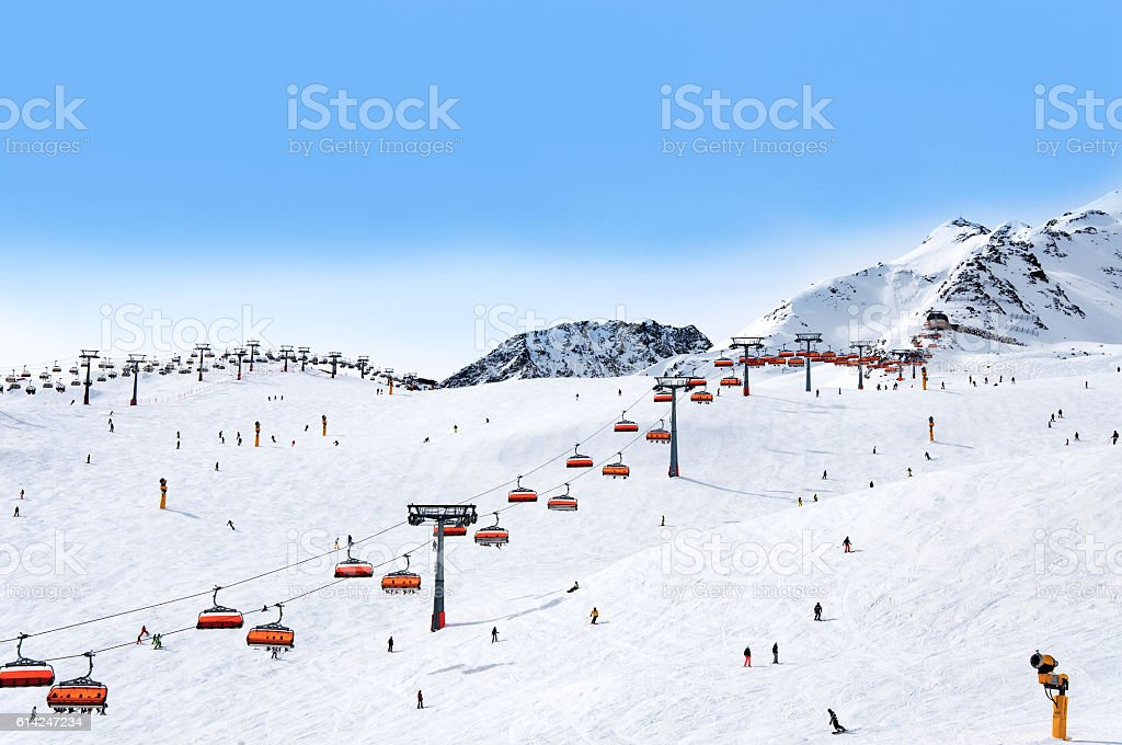 Skiers and chairlifts in Solden, Austri stock photo