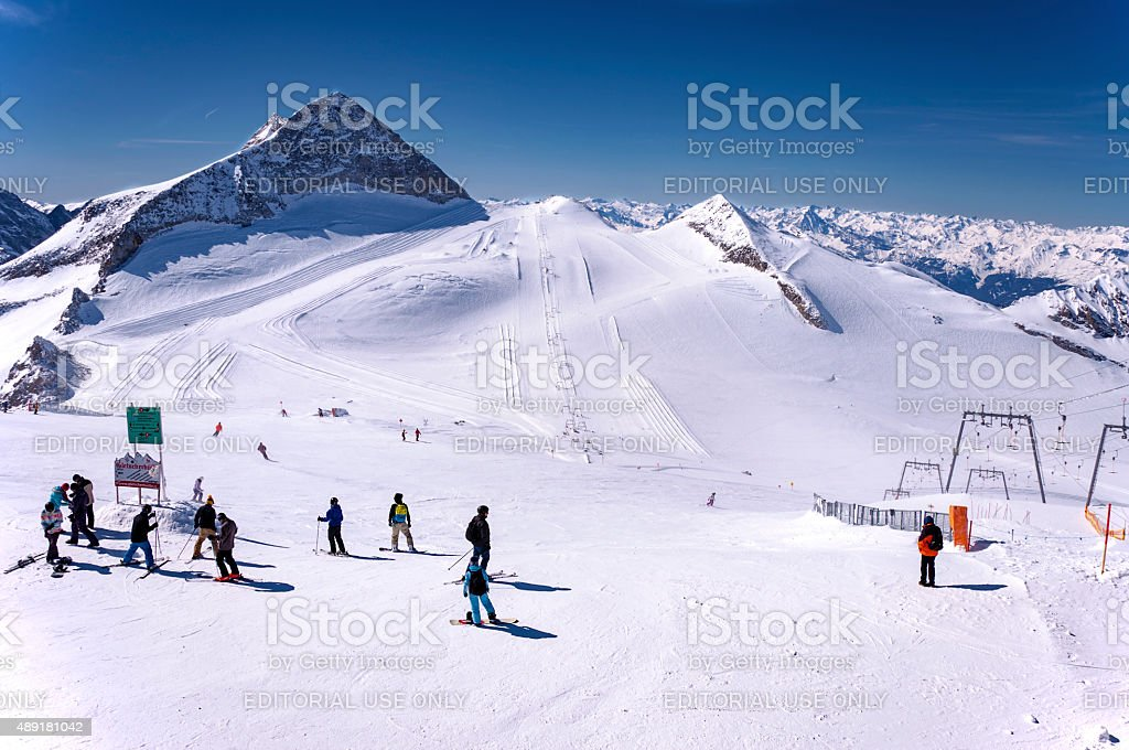 Skiers and snowboaders on Hintertux Glacier stock photo