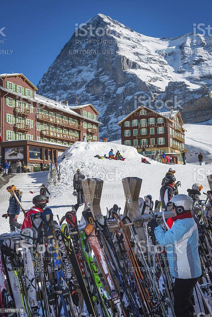 Skiers at Alpine winter sports resort Kleine Scheidegg Eiger Switzerland royalty-free stock photo