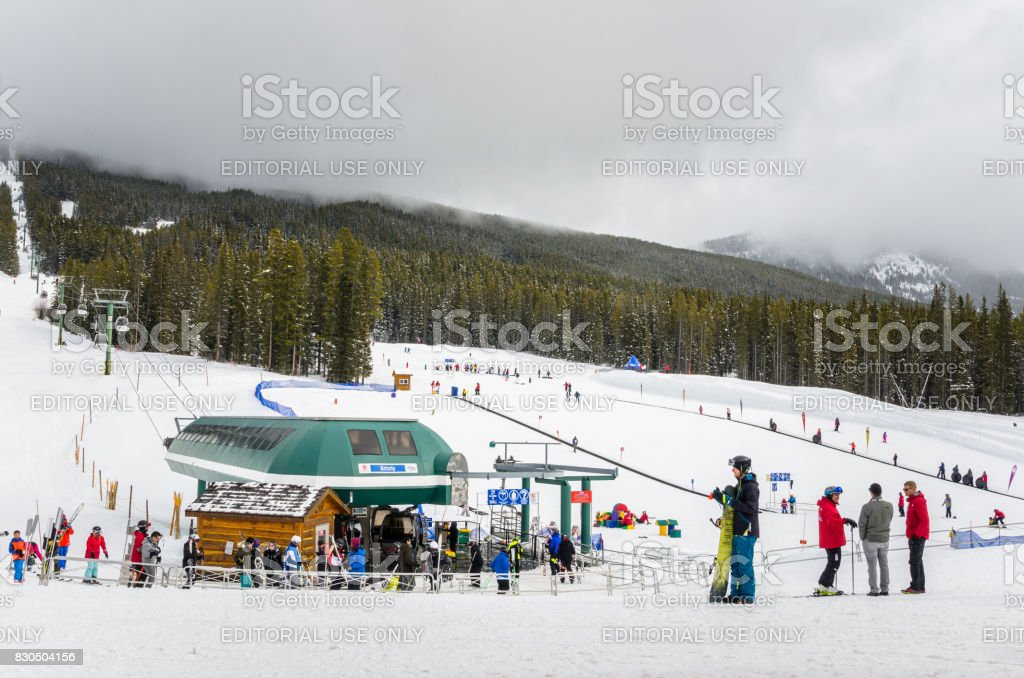 Skiers at Foot of the Slopes at Lake Louise Ski Area stock photo