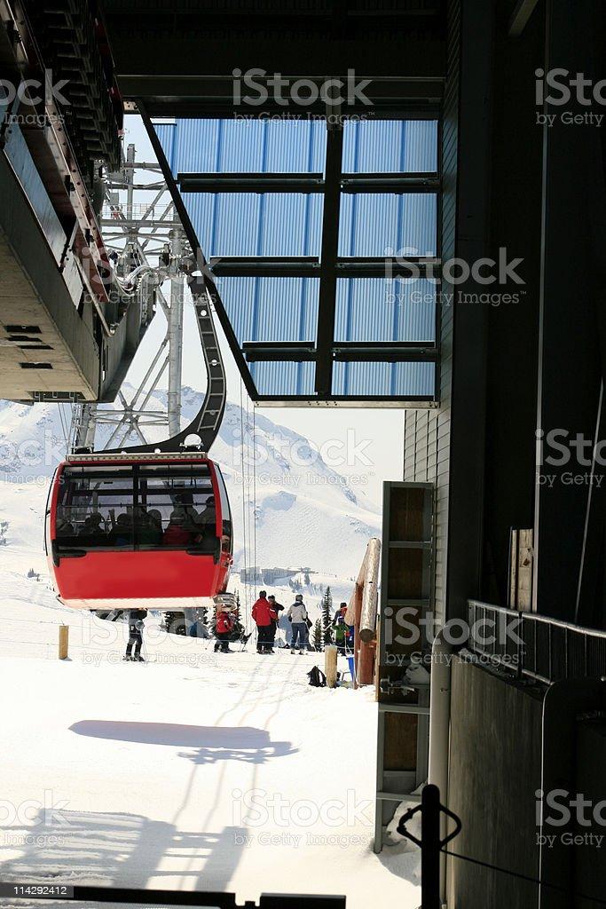 Skiers at Gondola Station royalty-free stock photo