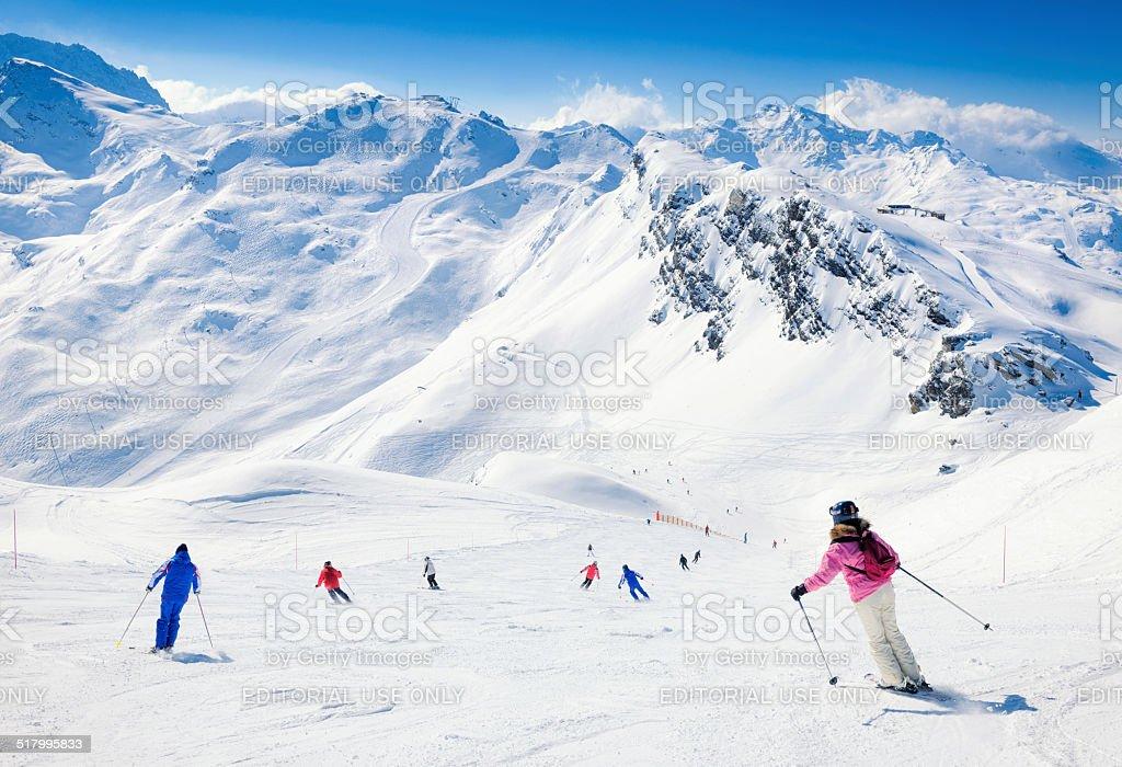 Skiers at Meribel in the Three Valleys stock photo