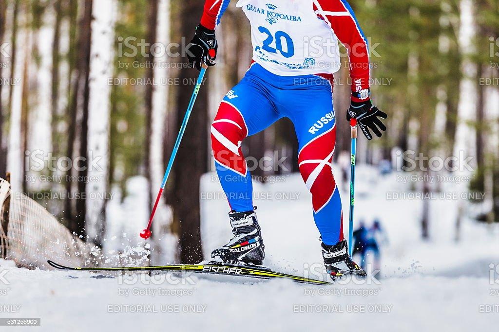 skiers athlete men up mountain stock photo