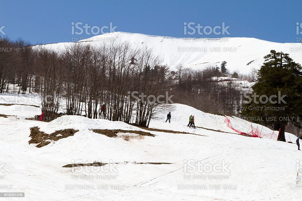 Skiers enjoying the snow. stock photo