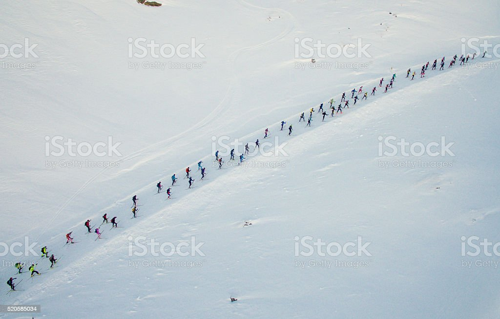 Skiers from above stock photo