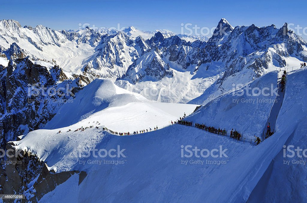 Skiers heading for Vallee Blanche, France stock photo