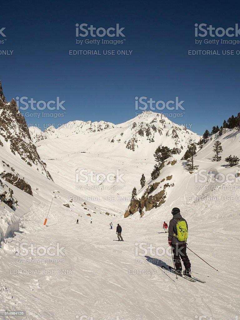 Skiers in french ski resort stock photo