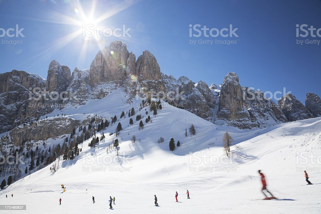 Skiers in The Dolomites stock photo
