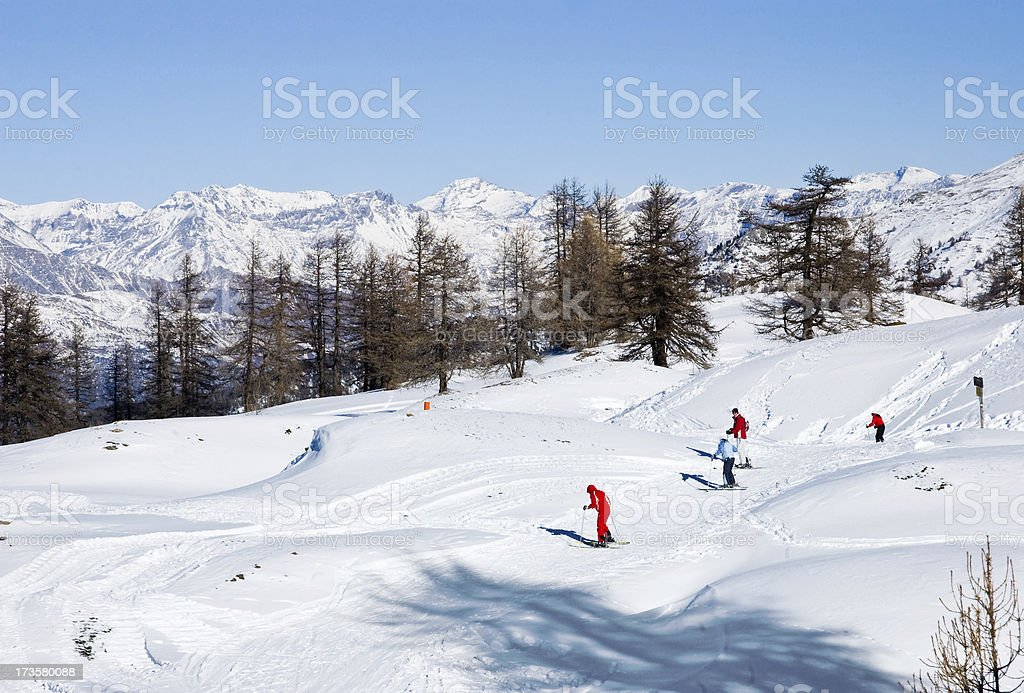 Skiers in the Europen Alps stock photo