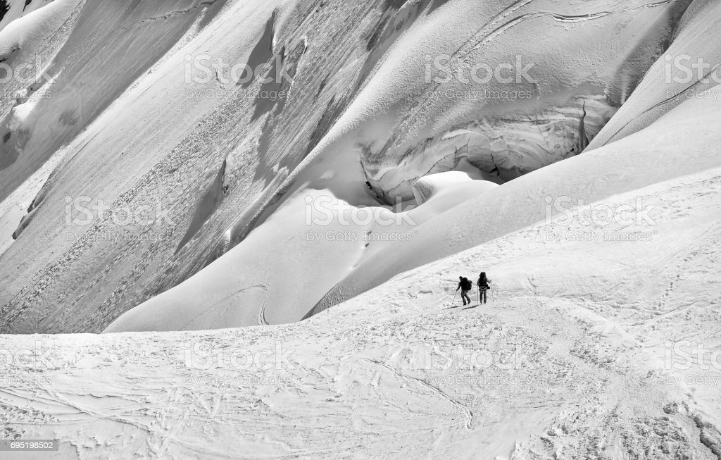 Skiers in the snow stock photo