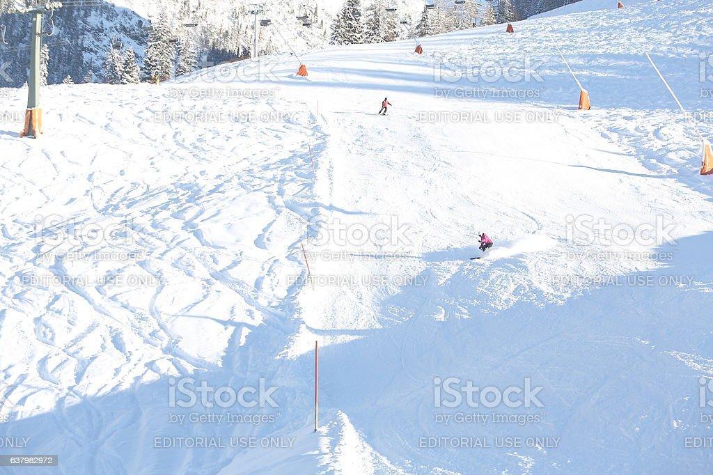 Skiers in WInter at Königssee in Berchtesgaden National Park stock photo