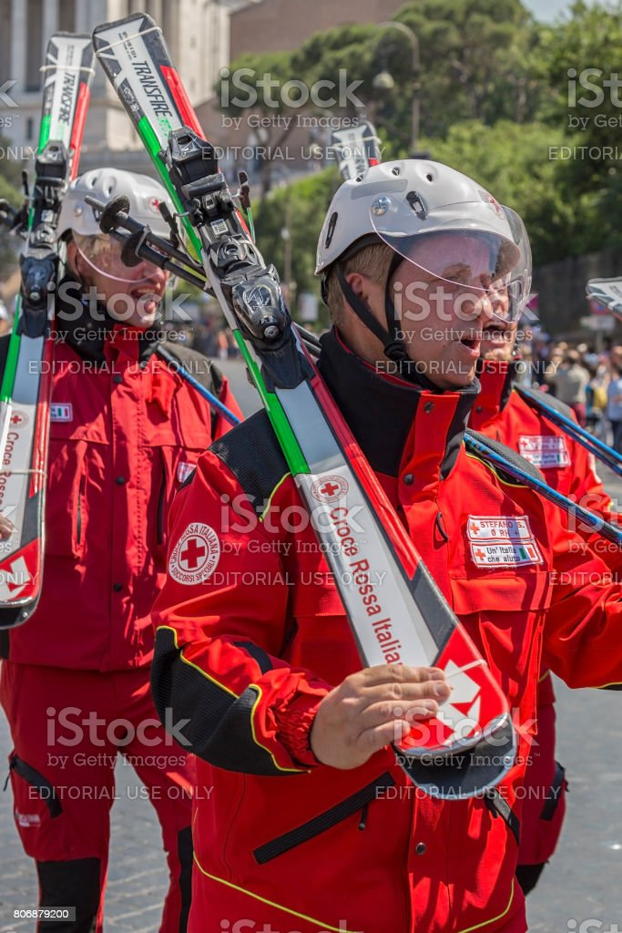 Skiers of the Italian Red Cross stock photo