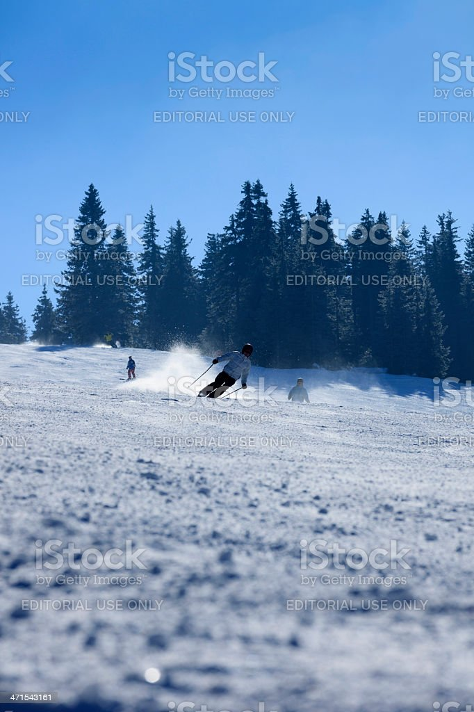 skiers on a ski slope in the Czech Republic royalty-free stock photo