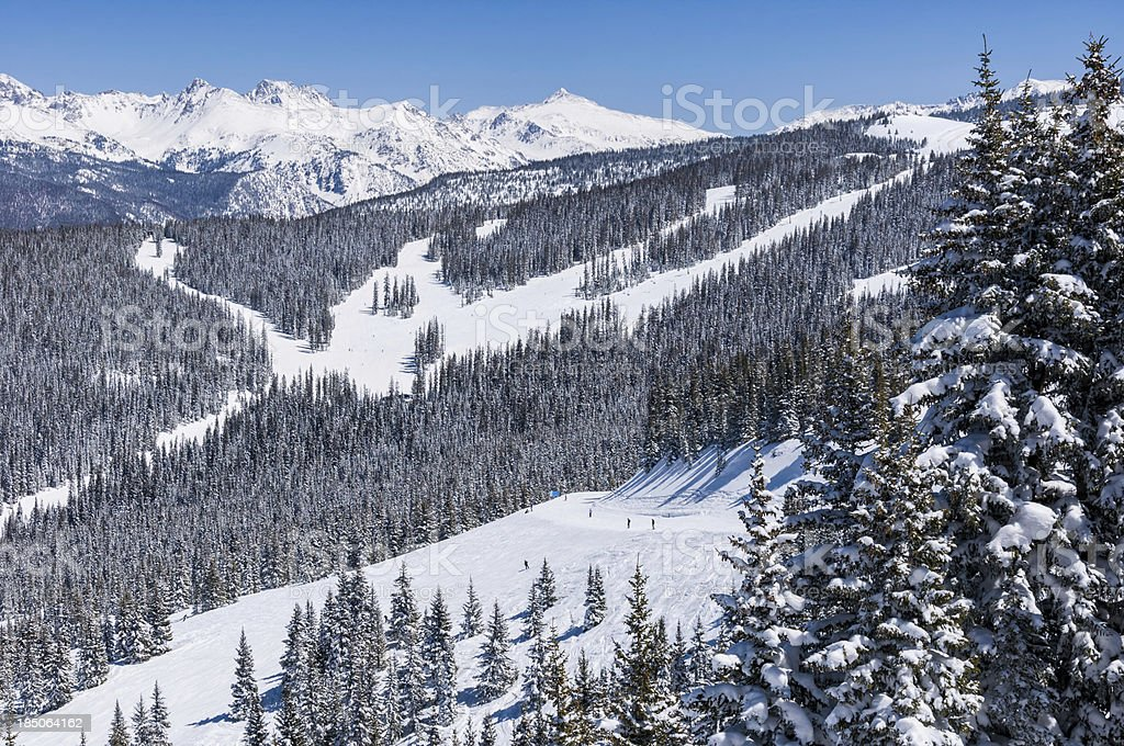 Skiers on Catwalk in Vail Colorado stock photo