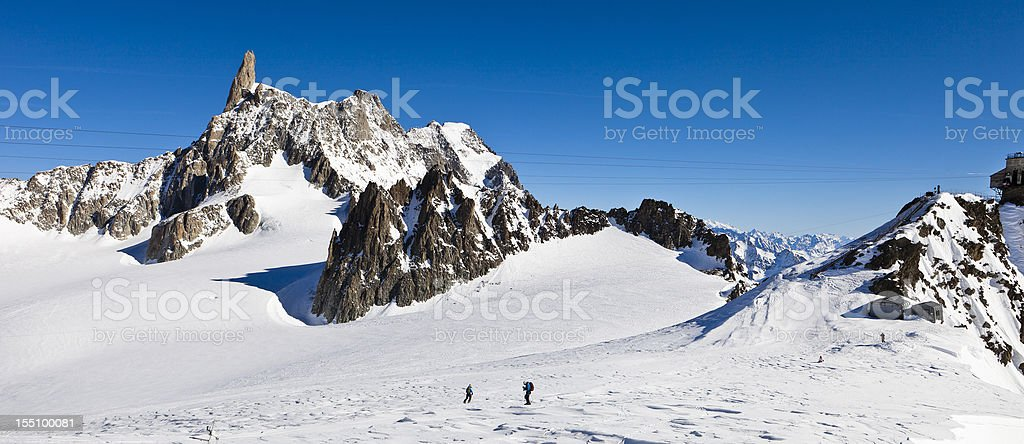 Skiers on the Glacier du Geant, Mont Blanc Massif stock photo
