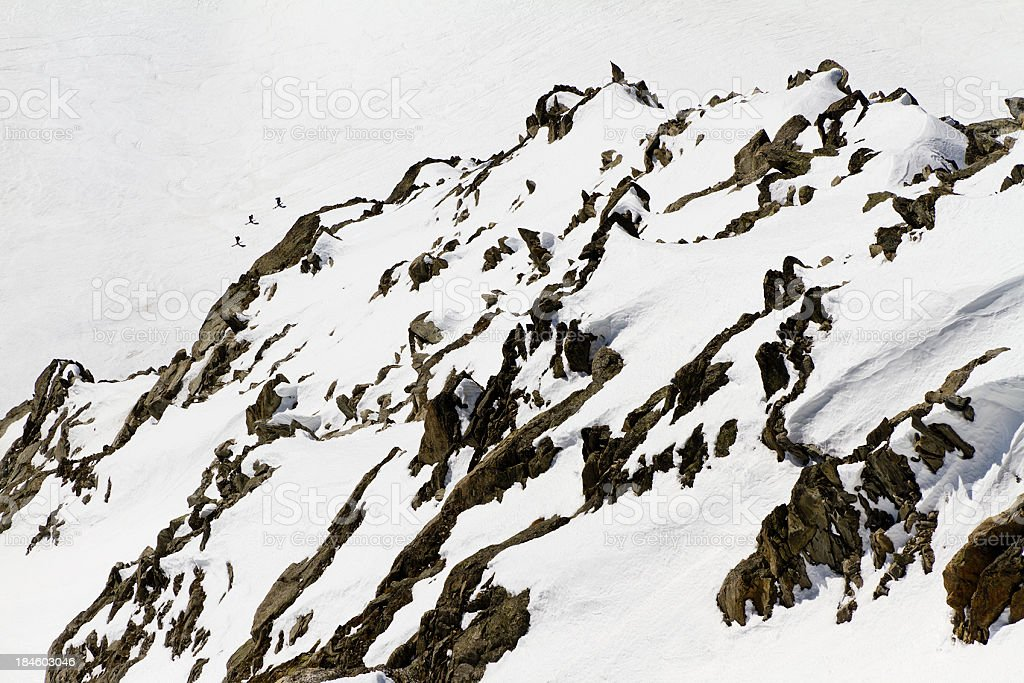 Skiers on the Mont Blanc Massif stock photo