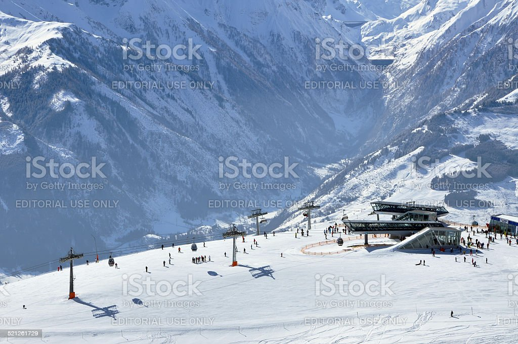Skiers on the slope stock photo