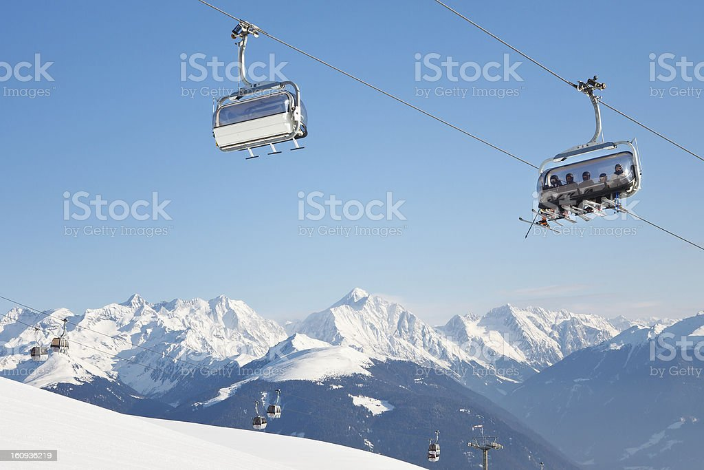Skiers on Their Way to the Summit royalty-free stock photo