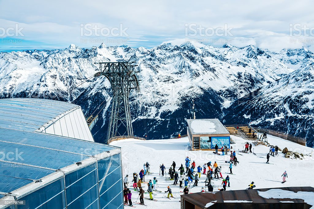 Skiers on top of ski resort Soelden, Tirol, Austria stock photo