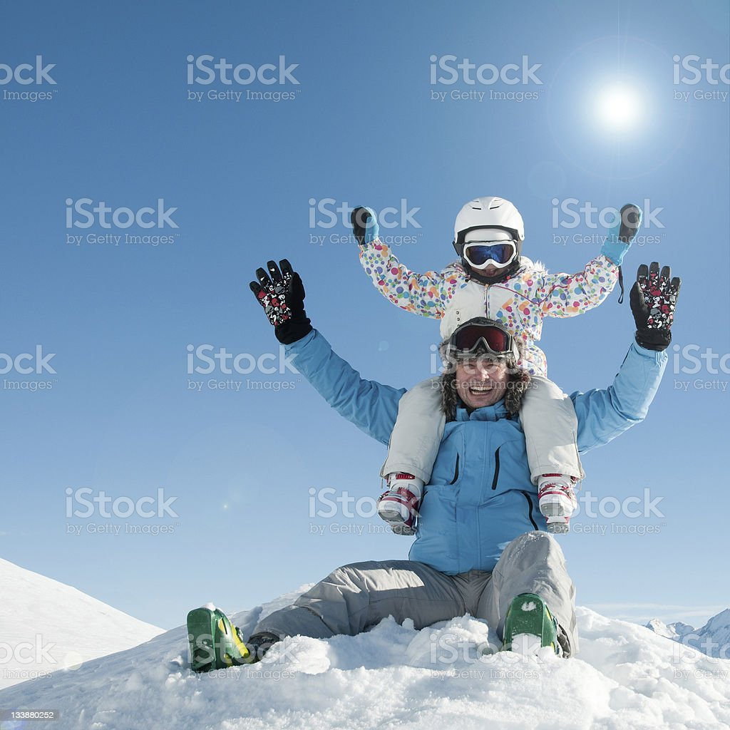 Skiers playing in snow royalty-free stock photo