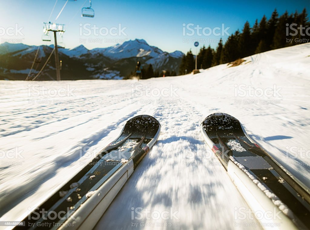 Skiers point of view in the European Alps stock photo