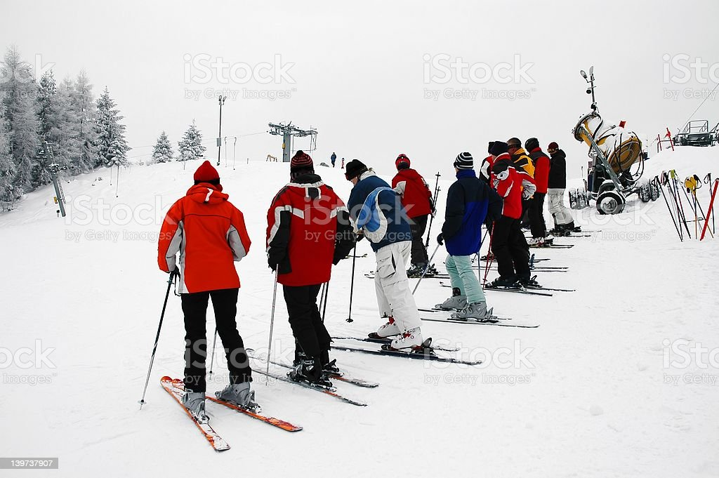 Skiers trainings royalty-free stock photo