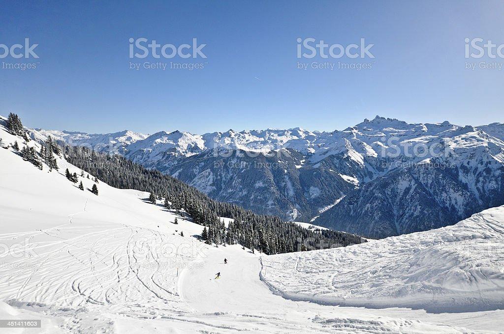 Skifahren in der Schweiz stock photo
