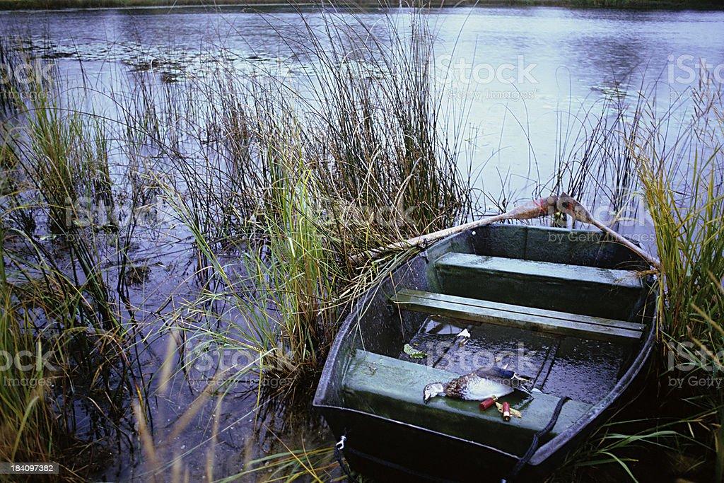 skiff and dead duck in the rain stock photo
