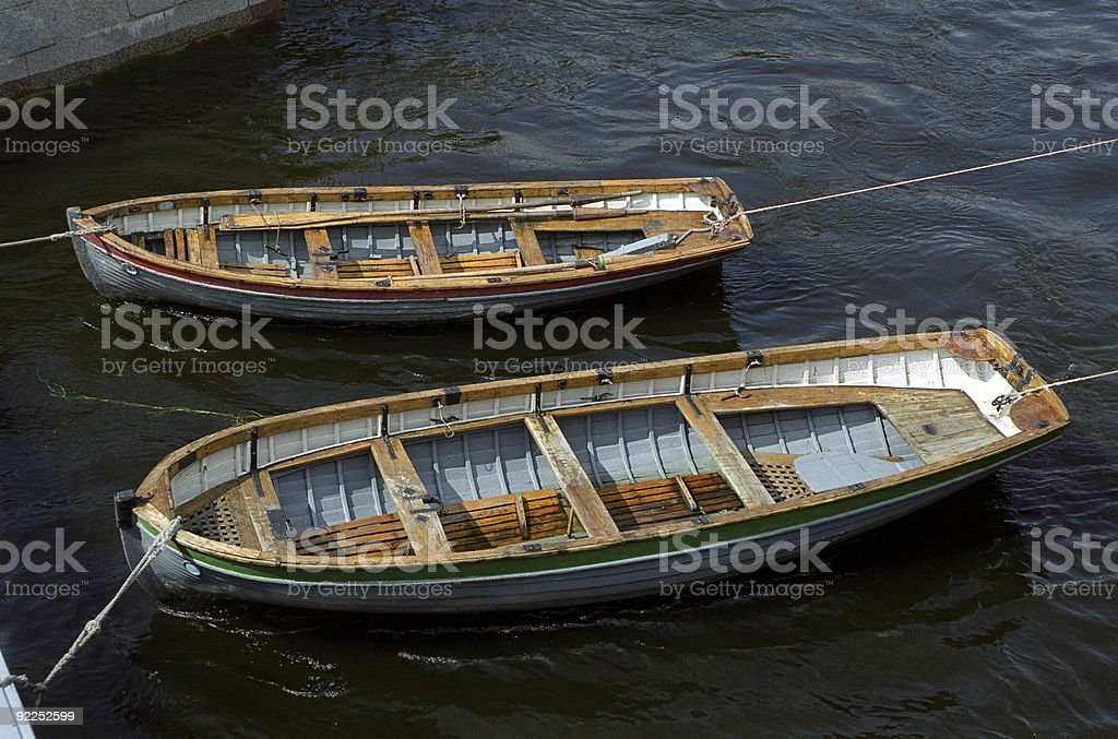 Skiffs: Red and Green stock photo