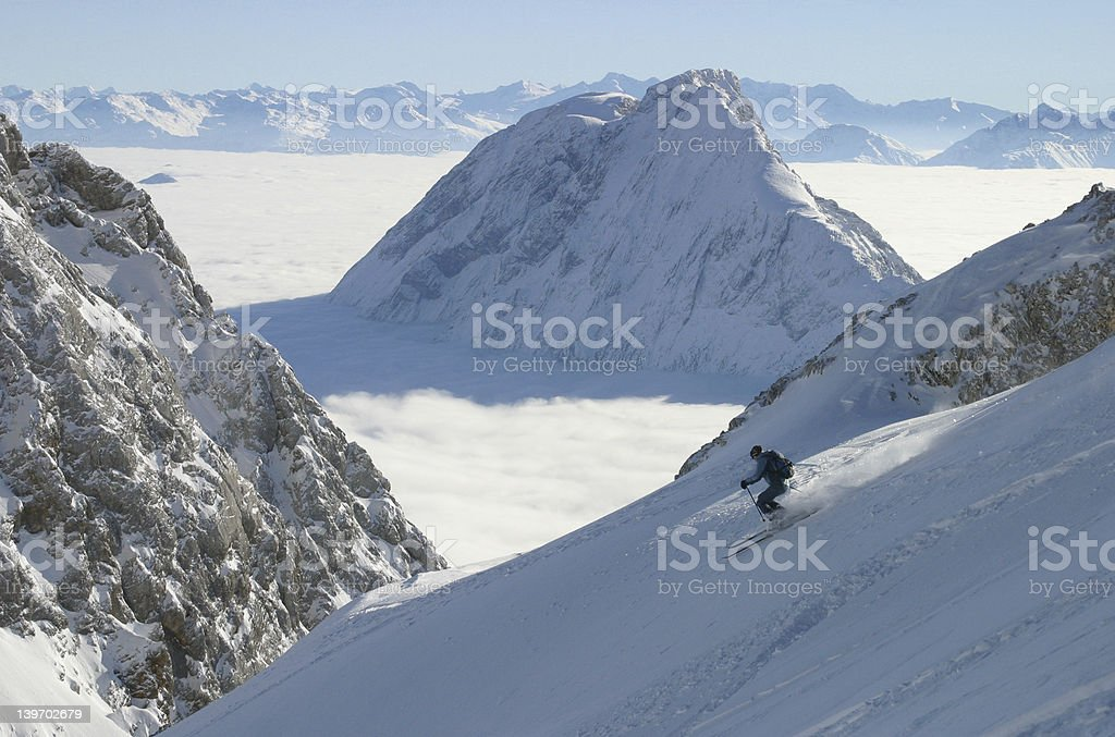 Skiing above it all stock photo