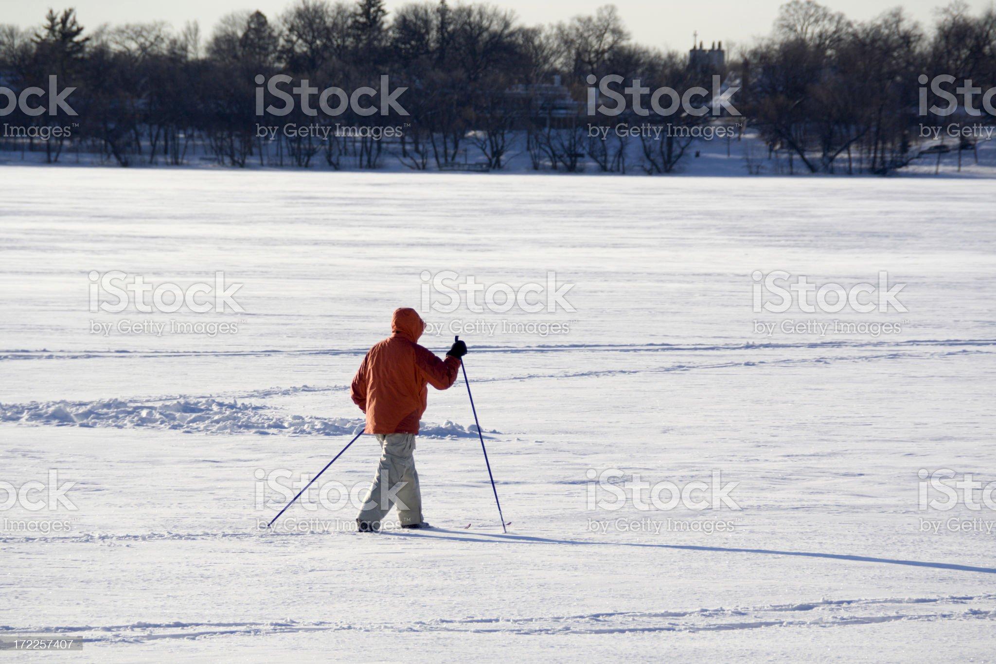 Skiing Across the Lake royalty-free stock photo