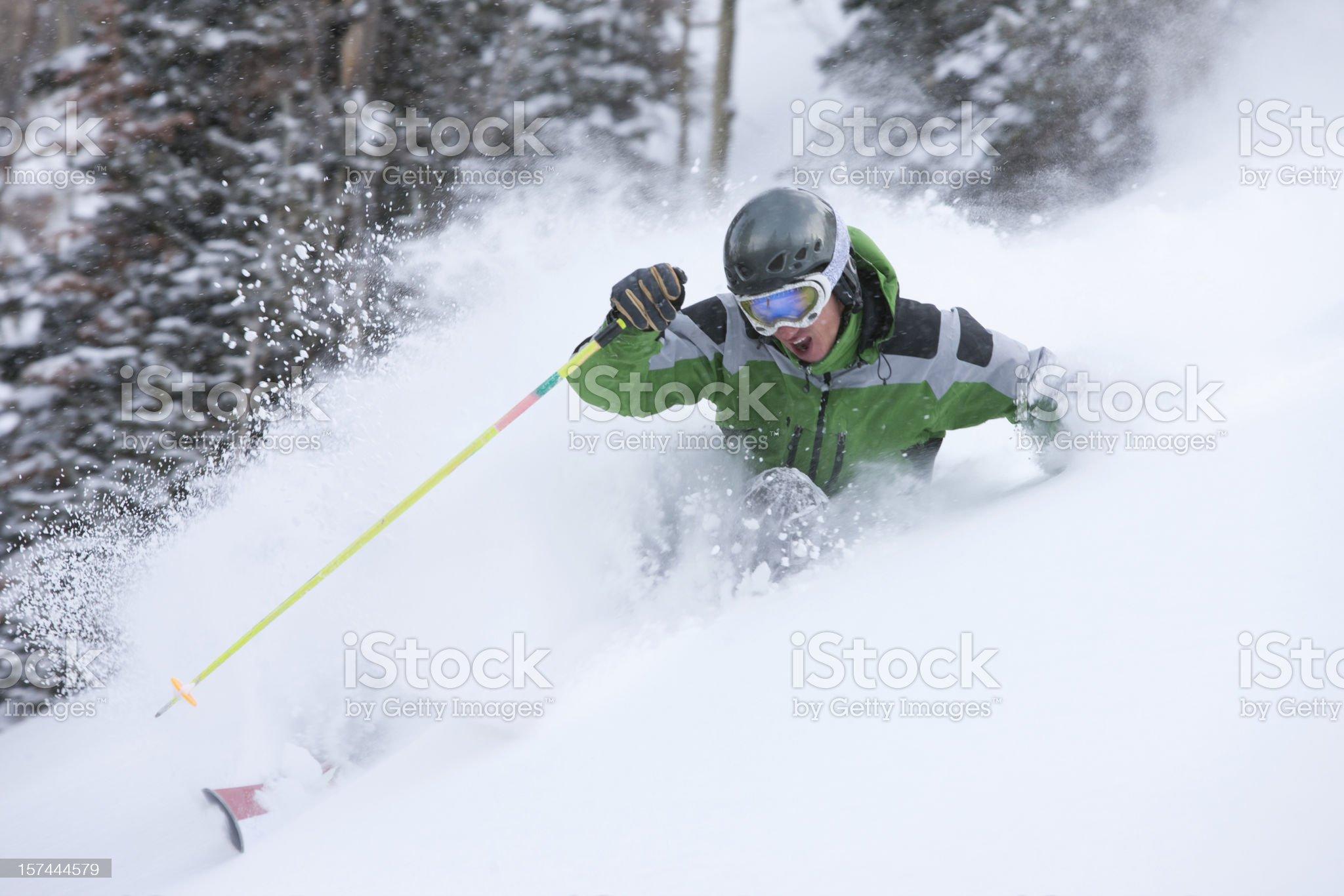 Skiing action royalty-free stock photo
