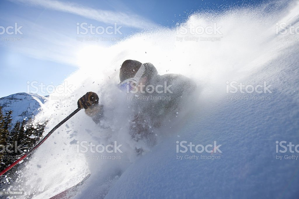 Skiing action royalty-free stock photo