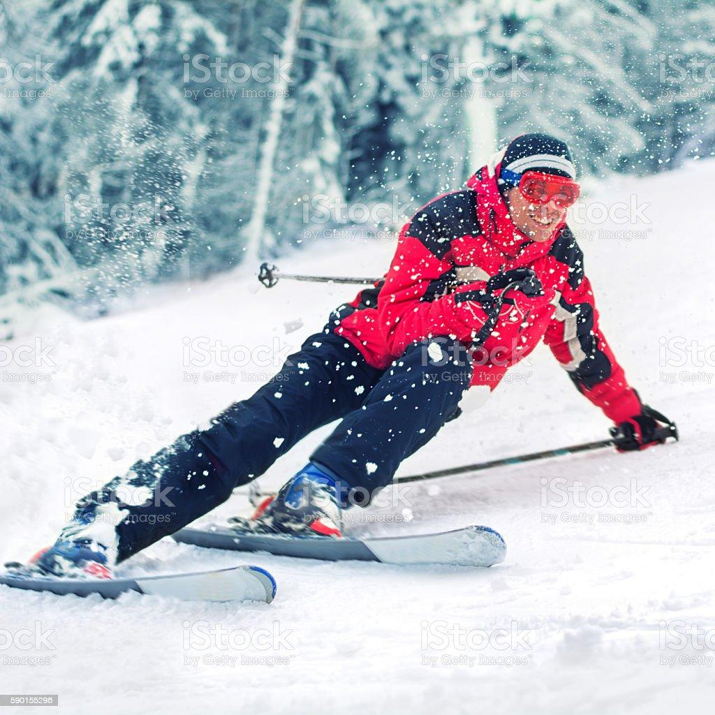 Skiing action stock photo