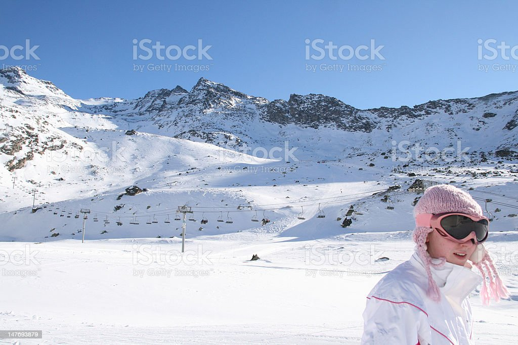 Skiing alone royalty-free stock photo