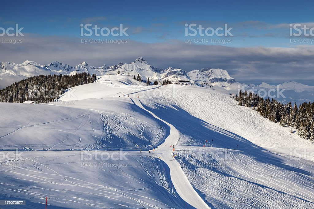 Skiing and Snowboarding in French Alps, Megeve royalty-free stock photo
