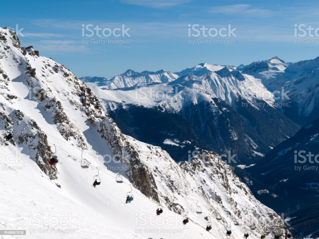 Skiing area in the Alps stock photo
