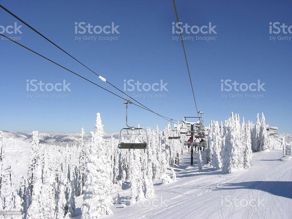 Skiing At Big Mountain Montana stock photo
