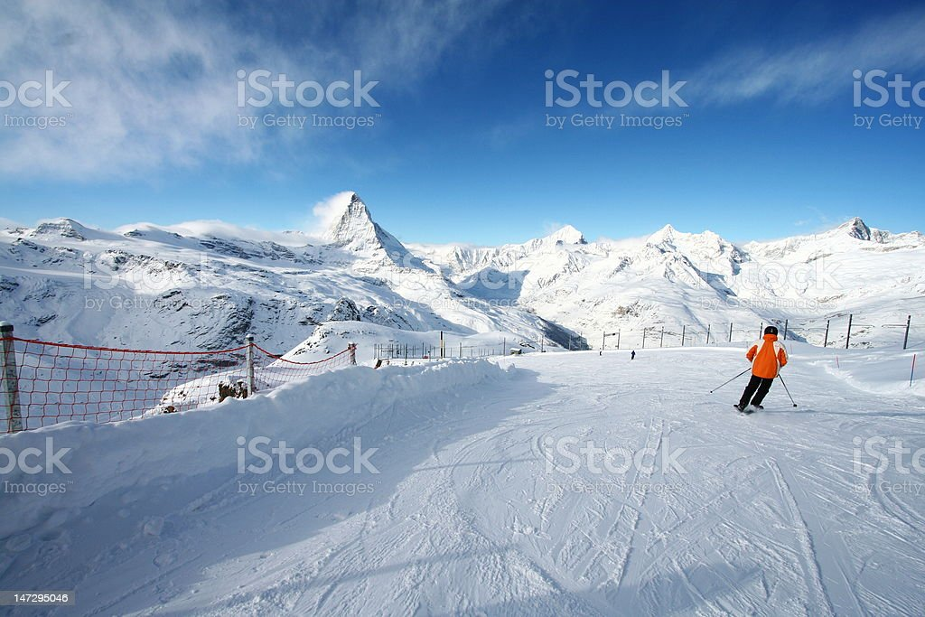 Skiing at Matterhorn stock photo