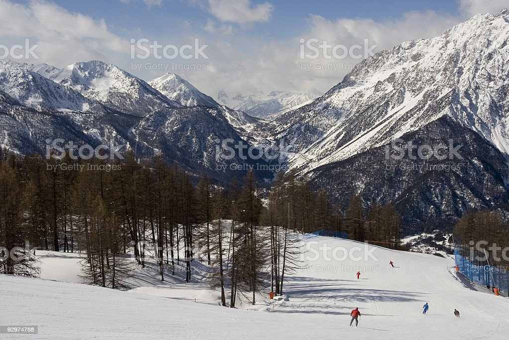 Skiing at Sauze D'Oulx stock photo